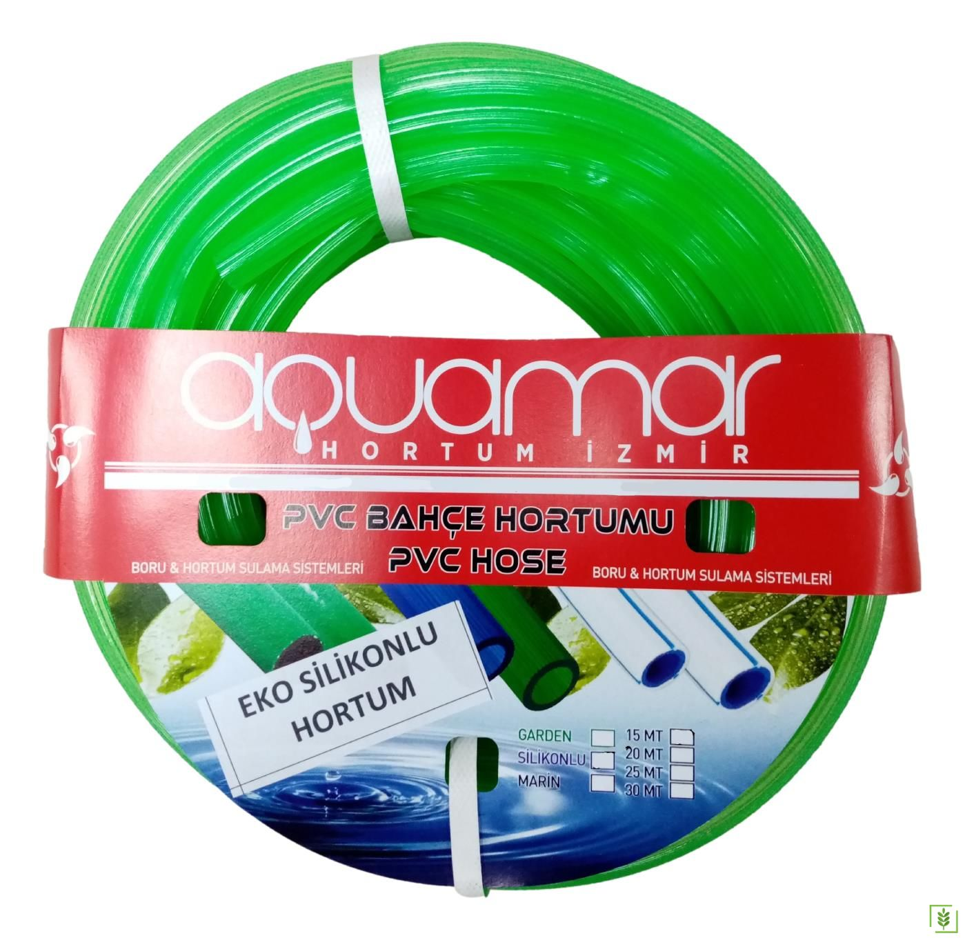 Aquamar Silikonlu Şeffaf Hortum 1/2 25 mt Yeşil