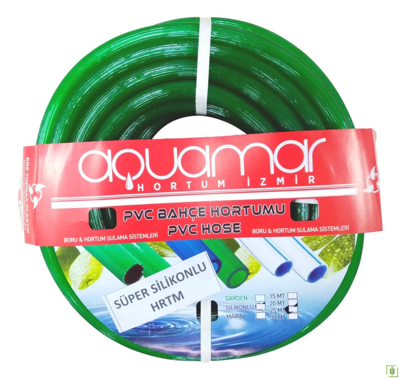 Aquamar Süper Silikonlu Şeffaf Hortum 1/2 25 mt Yeşil