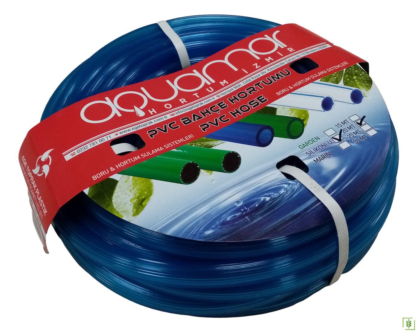Aquamar Süper Silikonlu Şeffaf Hortum Mavi 20 mt 1/2