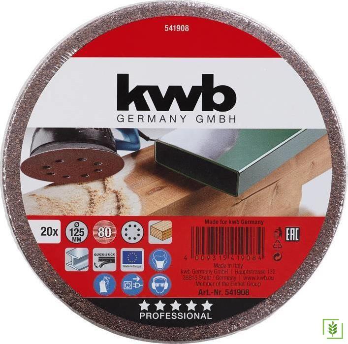 Kwb 541908 80 Kum Daire Zımpara 125 mm 20 Adet