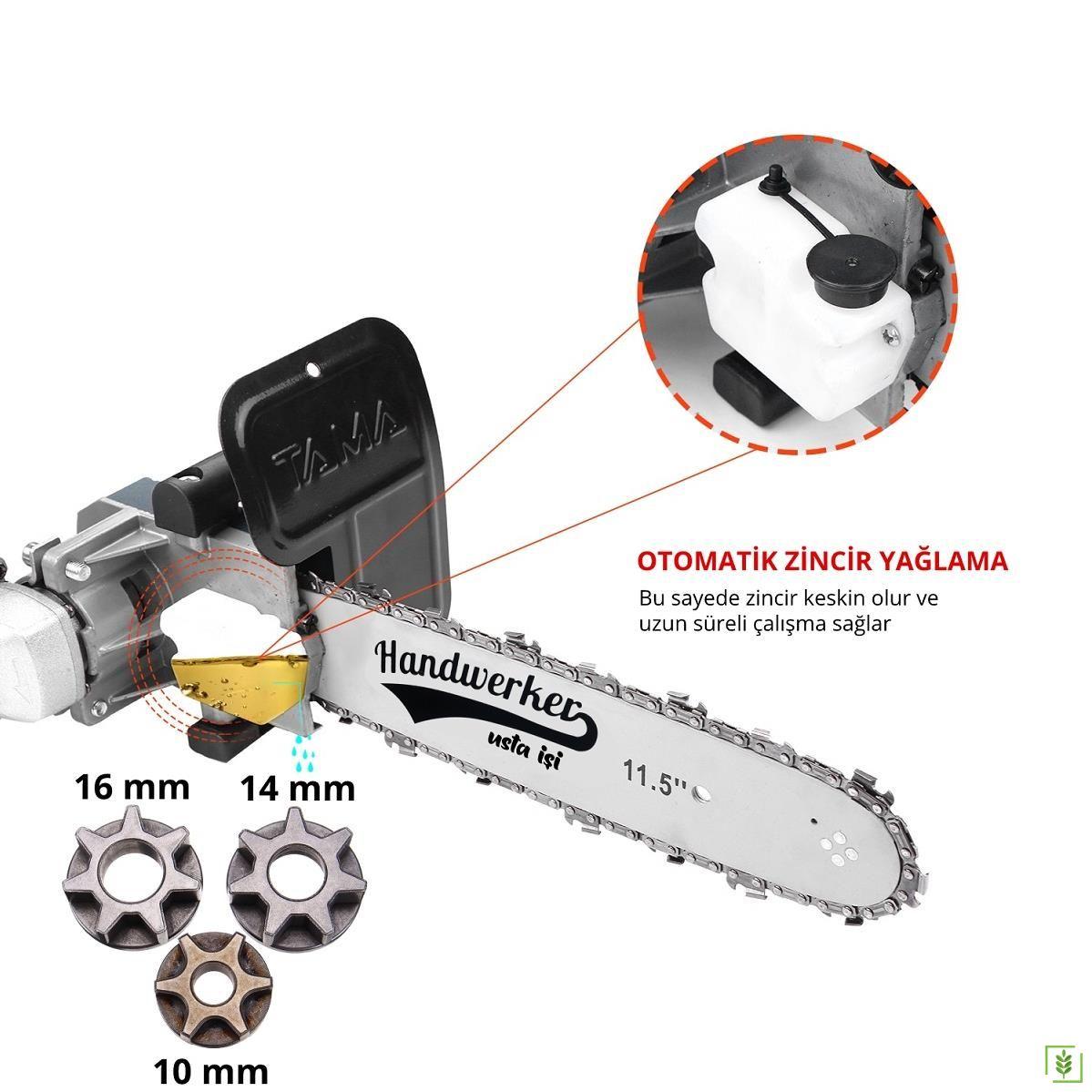 Otomatik Yağlamalı Avuç Taşlama Zincirli Testere Aparatı 10-14-16 mm