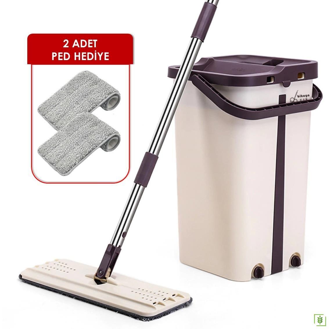 Real Cleaning M600 Kovalı Düz Mop Temizleyici Paspas 2 Pedli