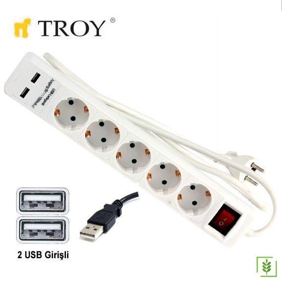 TROY 24025 USB Girişli Beşli Grup Priz ve Uzatma Kablosu