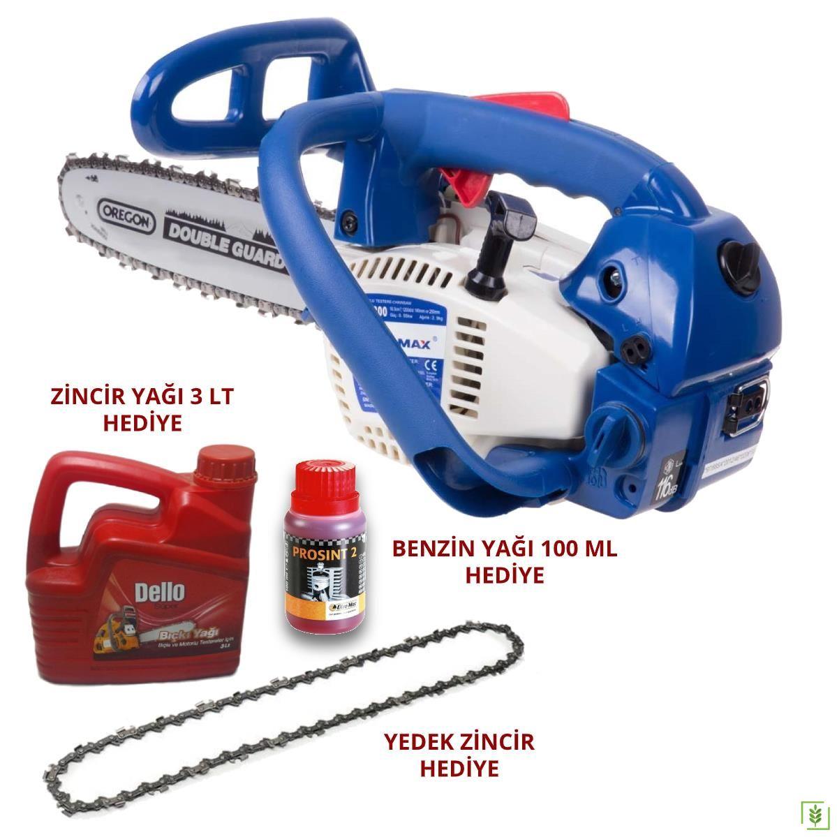 Zomax ZM2000 Motorlu Budama Testeresi + Zincir Benzin Yağı Zincir Hediye