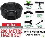 Bahçe Damla Sulama Seti 40 cm Delikli Boru 200 mt